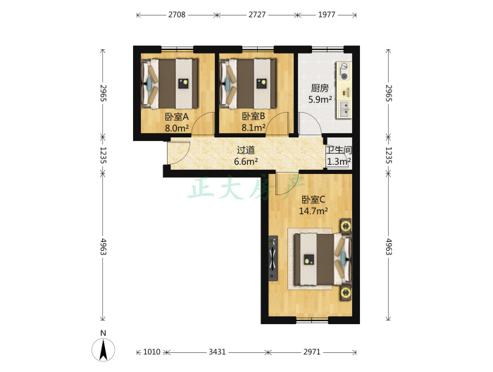 石家庄棉三生活区 2室1厅 110.00万