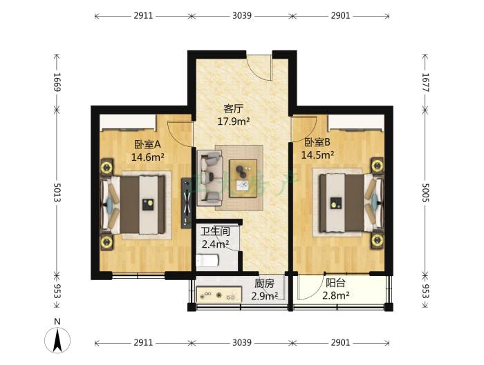 时光小区 2室1厅 103.00万