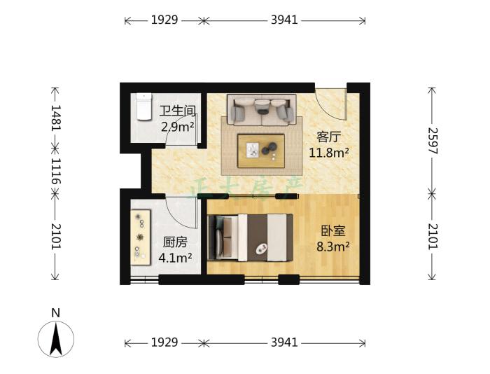 碧溪尊苑 1室1厅 76.00万