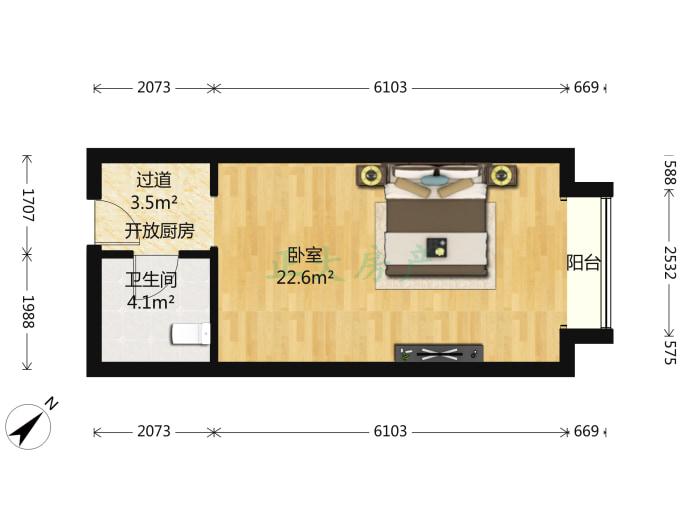 自由港 1室1厅 900.00元