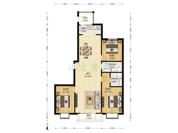 和平时光家园 3室1厅 320.00万