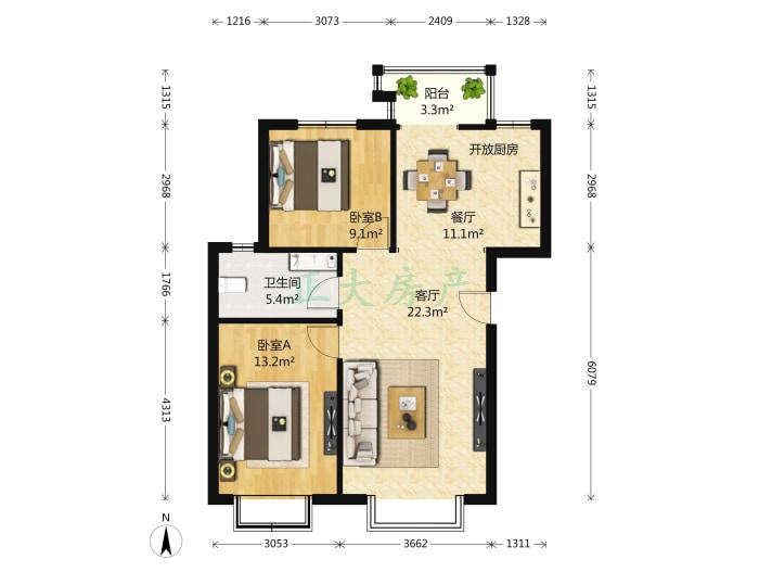 和平时光家园 2室2厅 2200.00元