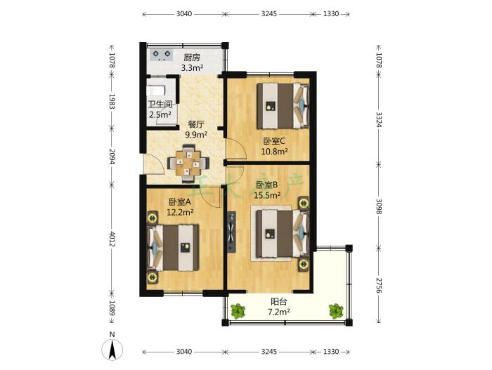 槐中路219号院 3室1厅 170.00万