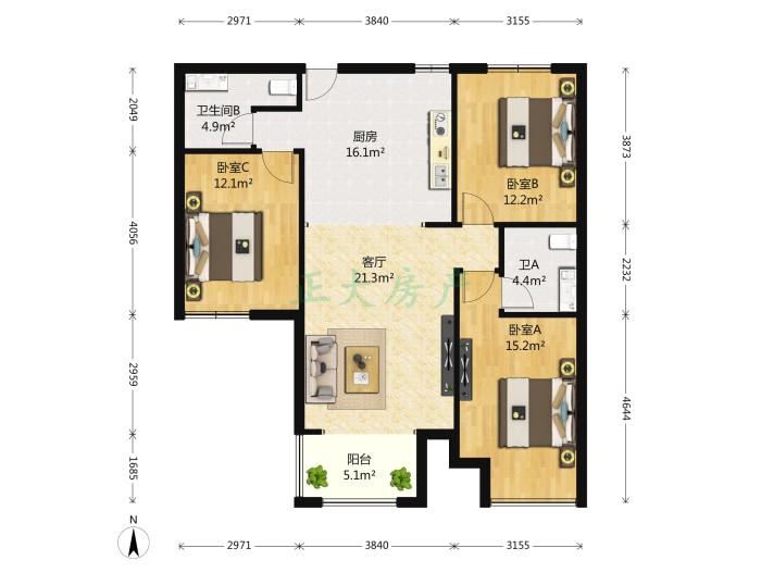 红珊湾 3室1厅 260.00万