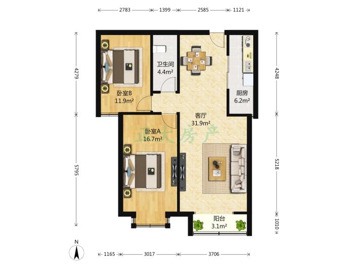 裕馨园 2室1厅 195.00万