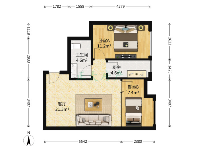 阿尔卡迪亚荣景园 1室2厅 2200.00元