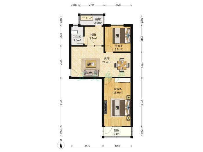 裕东小区 2室1厅 120.00万