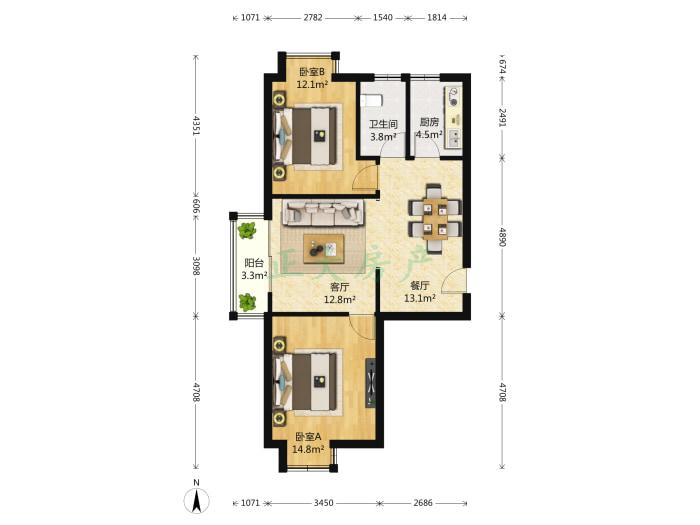 碧溪尊苑 2室2厅 169.80万