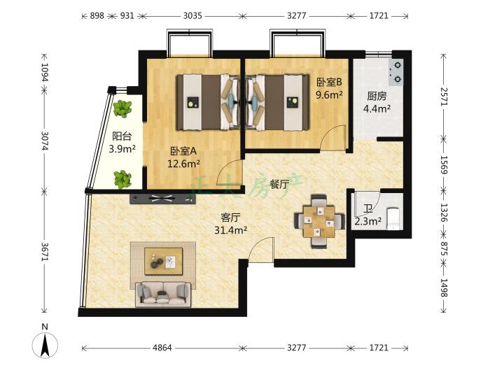 冠诚苑 2室1厅 210.00万