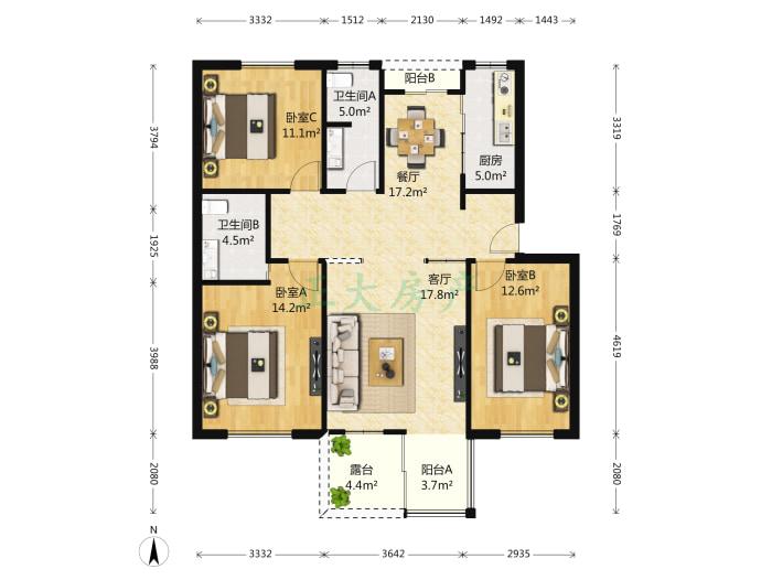 苹果城 3室2厅 199.00万