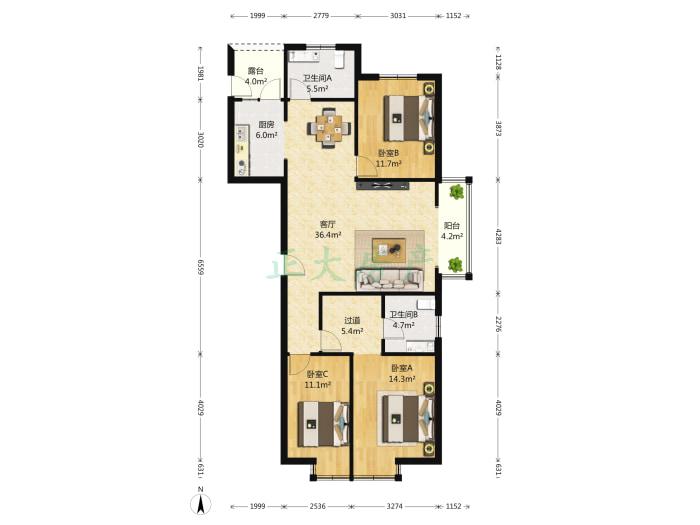 尚达家园 3室2厅 280.00万