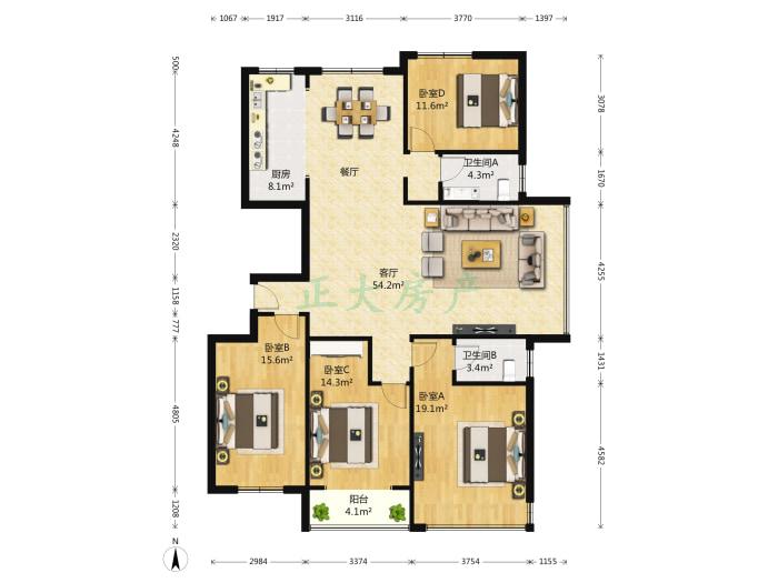 阿尔卡迪亚荣景园 4室2厅 450.00万