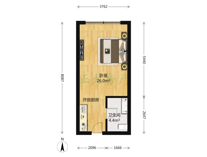 凯嘉大厦 1室1厅 1350.00元