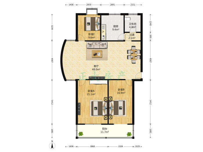 国际名邸 3室1厅 210.00万