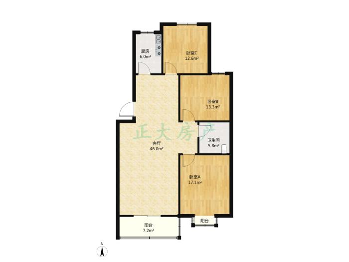 翰林雅筑 3室1厅 156.00万