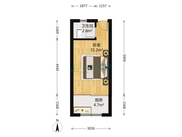卓达书香园一区 1室0厅 1200.00元