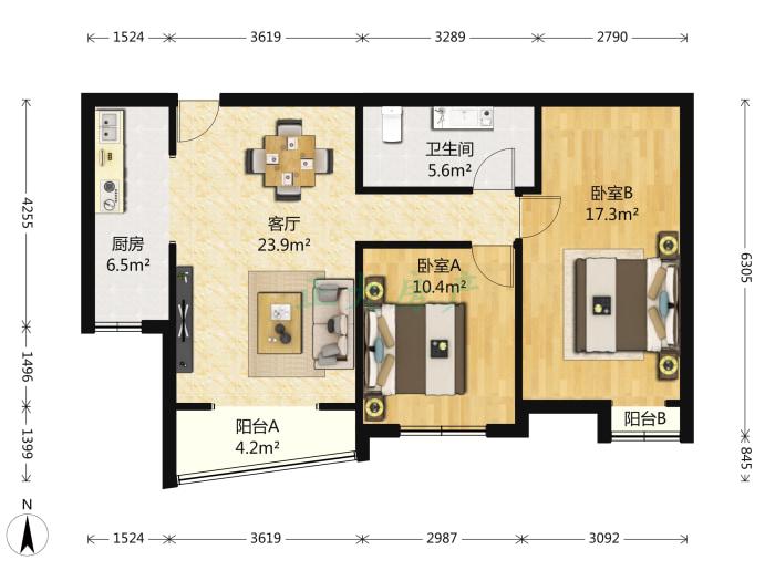 盛世长安 2室2厅 190.00万