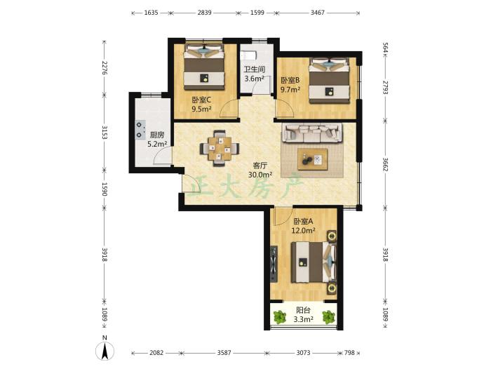 东胜金色里程 3室1厅 180.00万