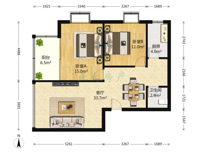 尚东绿洲 2室1厅 2400.00元
