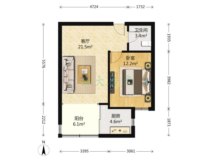 香格礼小区 1室1厅 1700.00元
