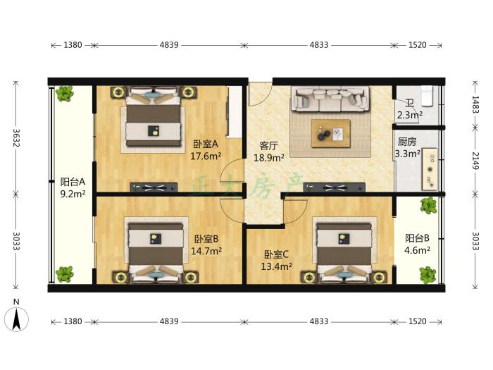 建设集团宿舍 3室1厅 155.00万