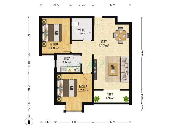 玉龙小区 2室2厅 1600.00元