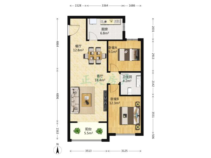 北郡一区 2室2厅 142.00万
