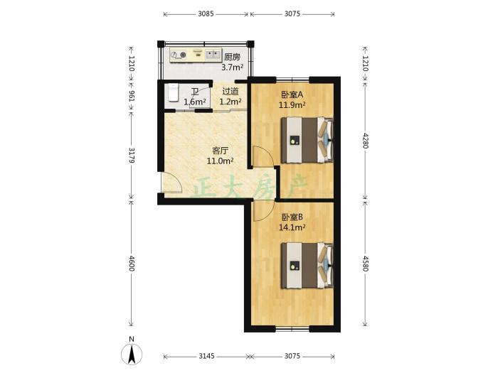 华安西街19号 2室1厅 73.00万