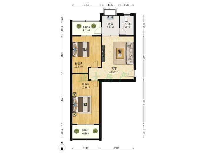 华夏家园A区 2室1厅 142.00万
