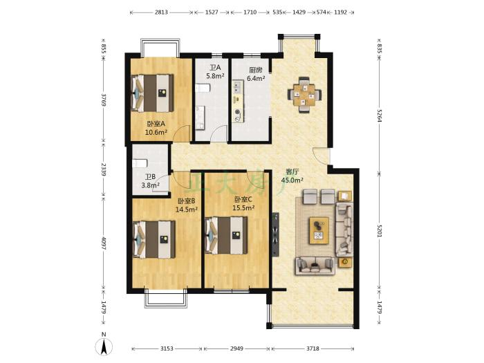 九里庭院西区 3室1厅 210.00万