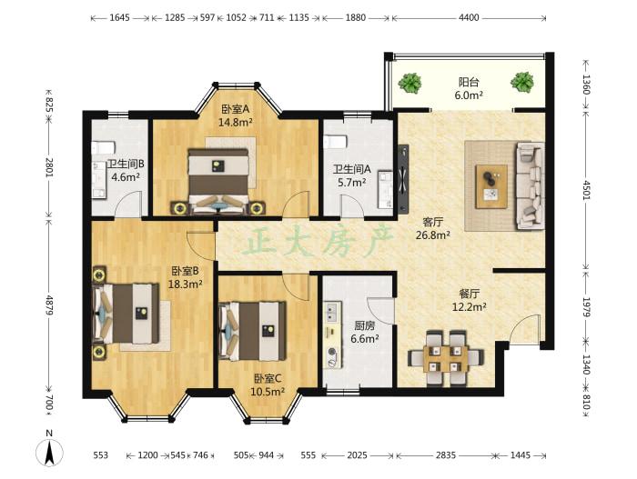 旭景琴园 3室2厅 200.00万