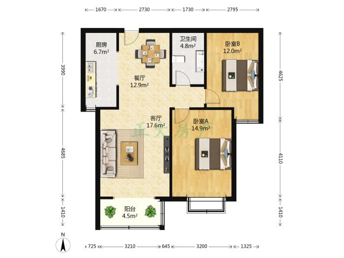 芝澜明仕 2室2厅 170.00万