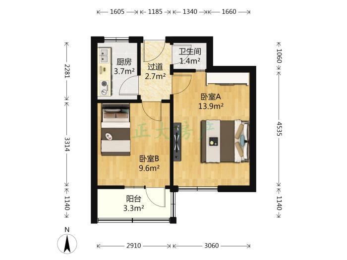 平安小区 2室0厅 1300.00元