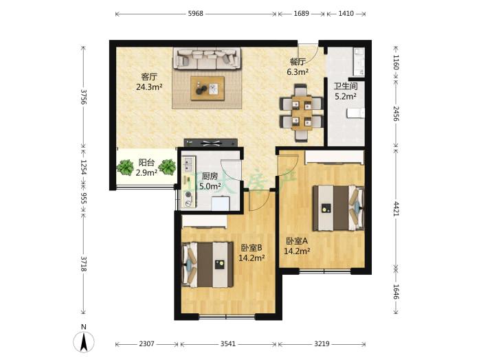 田家庄小区南区 2室2厅 1050.00元