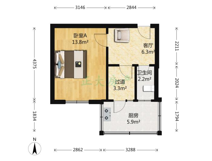 市农机公司 1室1厅 800.00元
