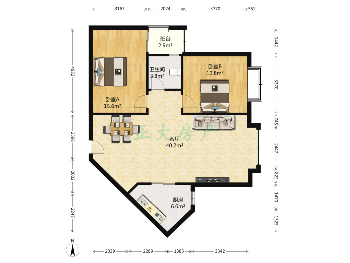 绿色家园 2室1厅 160.00万
