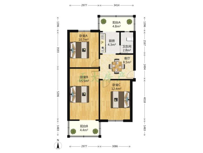 尖岭小区 3室1厅 126.00万