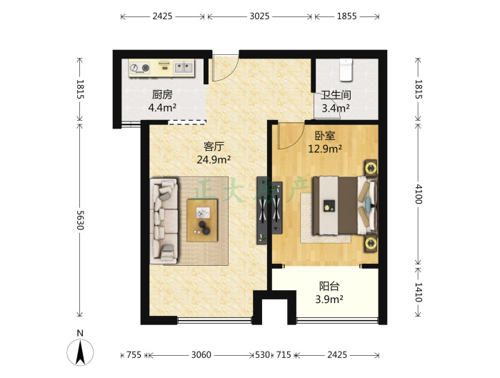 阿尔卡迪亚荣景园 1室1厅 2900.00元