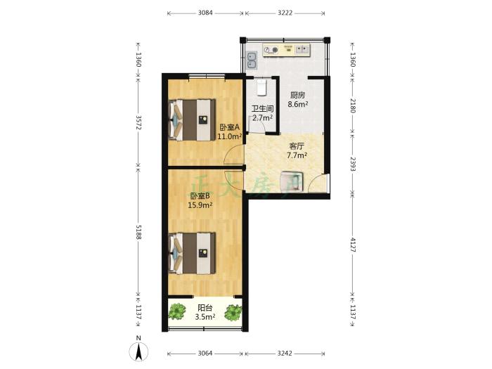 庄窠小区 2室1厅 88.00万