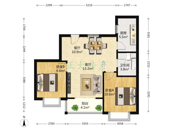 北郡五区 2室2厅 133.00万