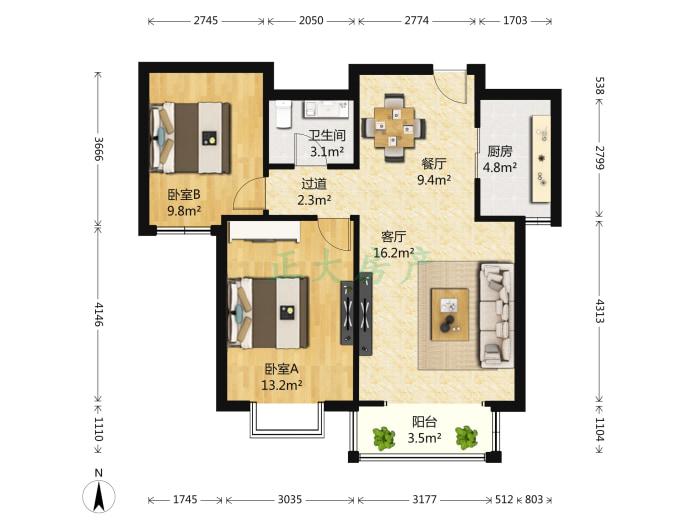 卓达太阳城2008 2室2厅 103.00万