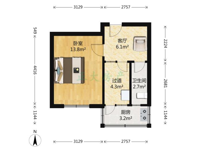 范西路新华书店宿舍 1室1厅 1400.00元