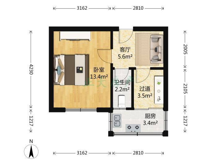 义堂小区 1室1厅 65.00万