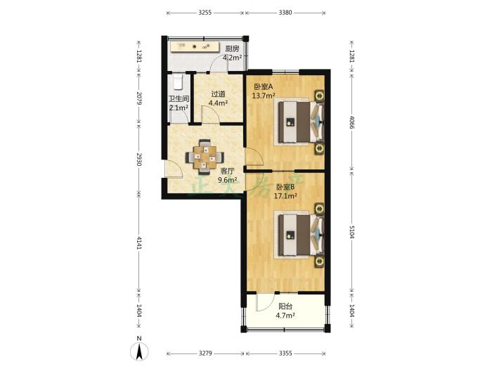 海关东巷 2室1厅 1500.00元