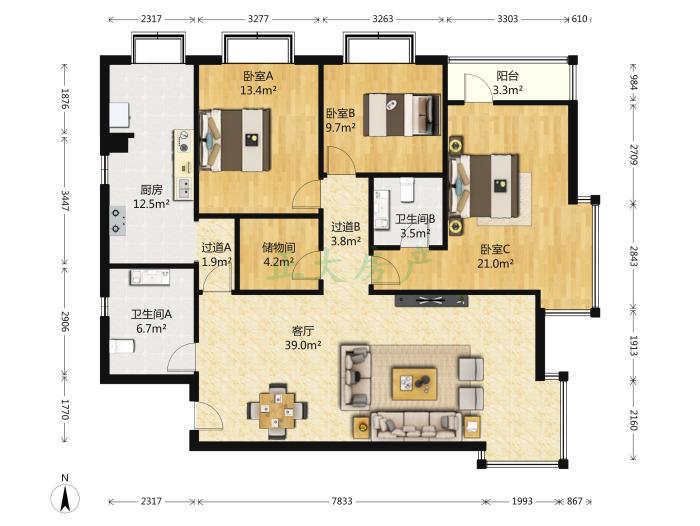 国际丽都 3室1厅 4300.00元