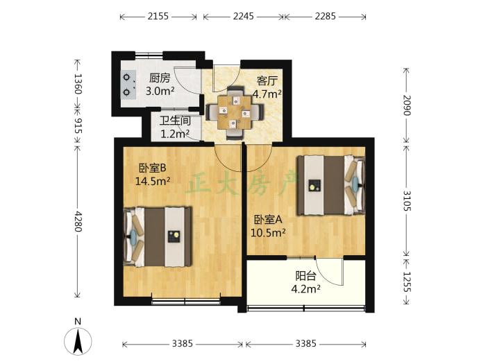 轻工研究院宿舍 2室1厅 76.00万