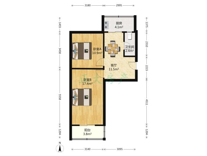 高柱小区 2室1厅 86.00万