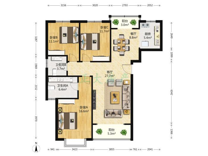 北郡五区 3室2厅 156.00万