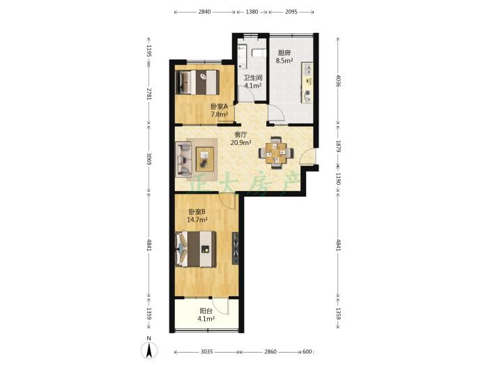 冶建小区 2室1厅 118.00万