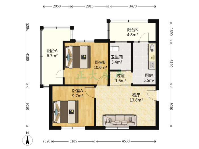 炼油厂第二生活区 2室1厅 900.00元